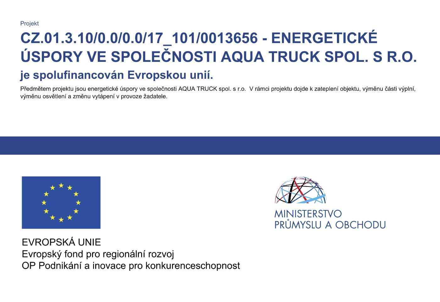 Energetické úspory ve společnosti Aquatruck spol. s r.o.